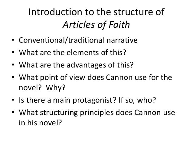 Articles of faith structure, setting Slide 3