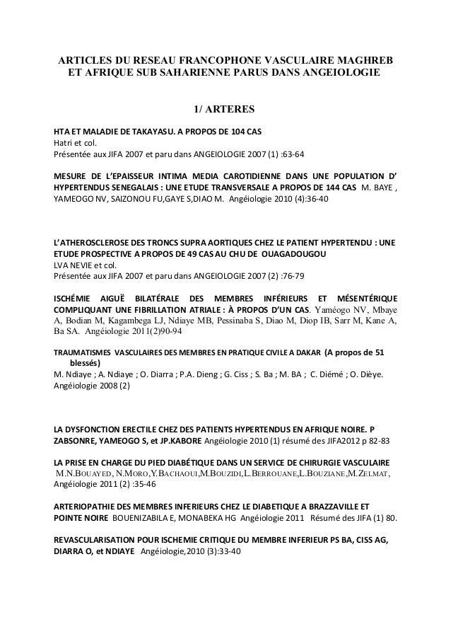 ARTICLES DU RESEAU FRANCOPHONE VASCULAIRE MAGHREB ET AFRIQUE SUB SAHARIENNE PARUS DANS ANGEIOLOGIE 1/ ARTERES HTA ET MALAD...
