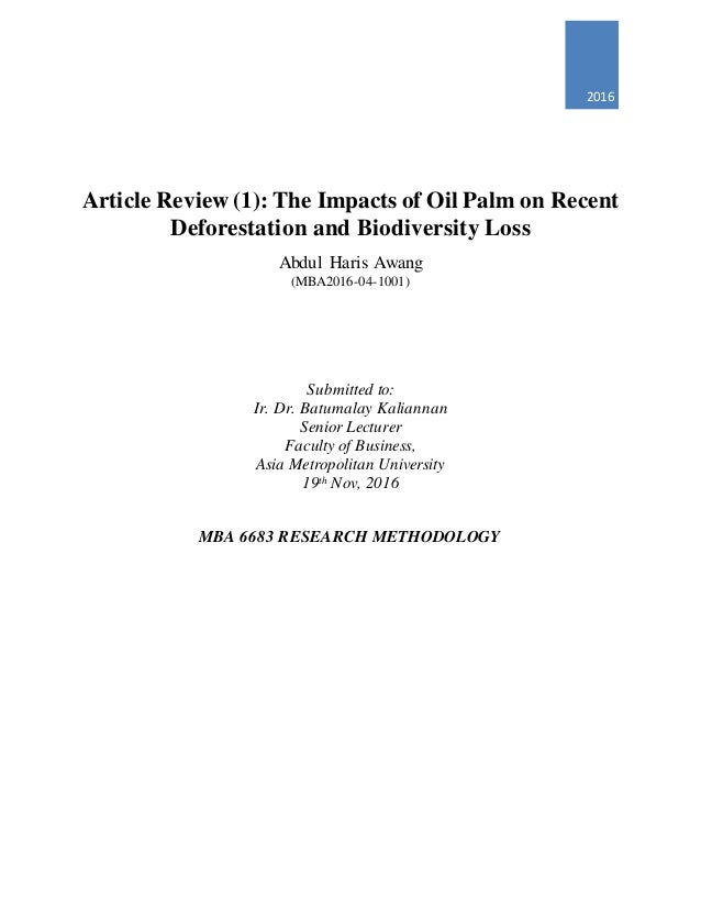 palm oil literature review