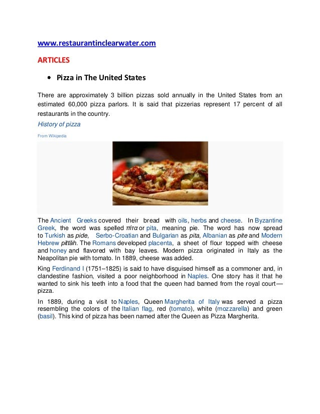 www.restaurantinclearwater.comARTICLES         Pizza in The United StatesThere are approximately 3 billion pizzas sold ann...