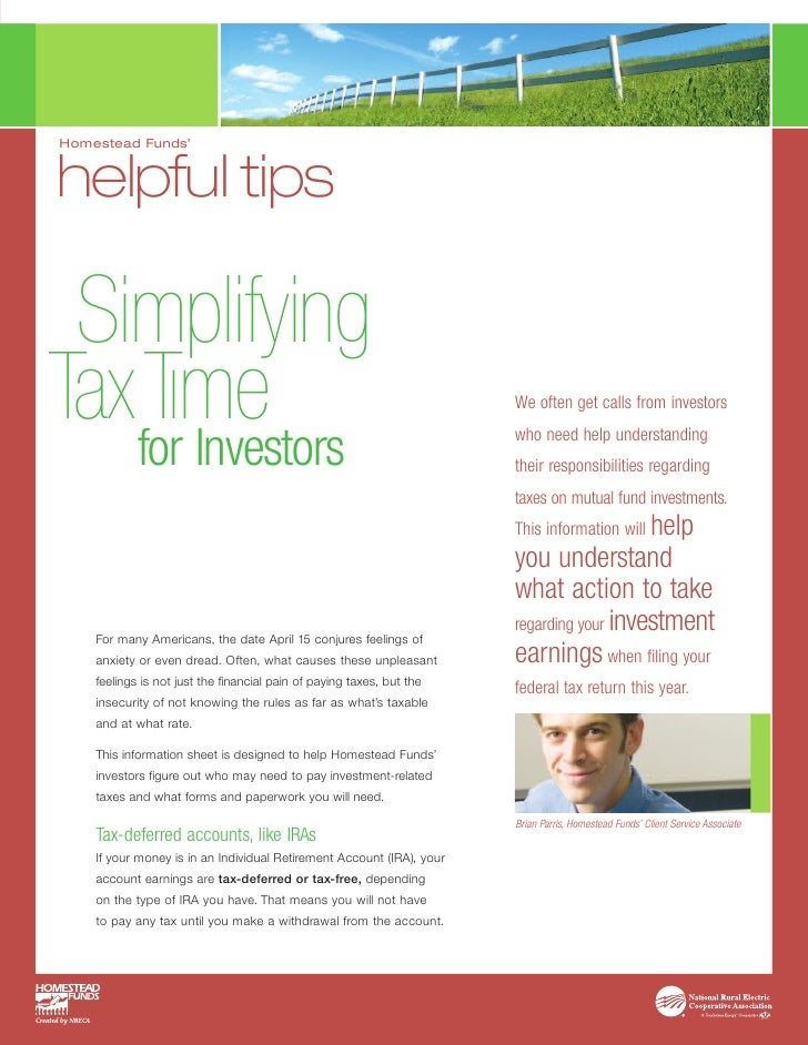 Homestead Funds'   helpful tips   Simplifying TaxTıme    for Investors                                                    ...