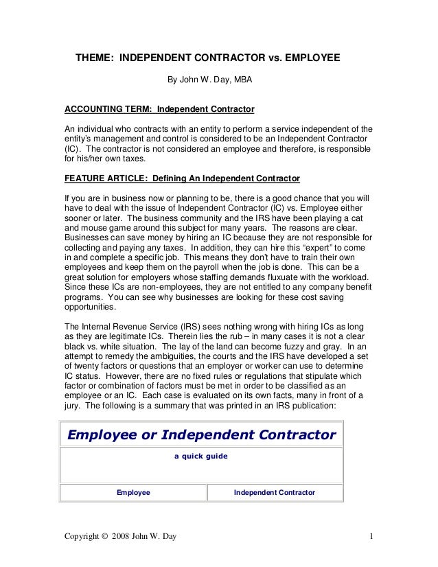independent contractor or employee checklist