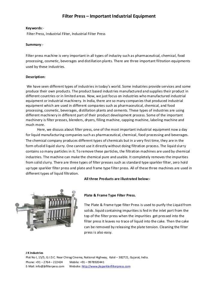 Filter Press – Important Industrial EquipmentKeywords:-Filter Press, Industrial Filter, Industrial Filter PressSummary:-Fi...