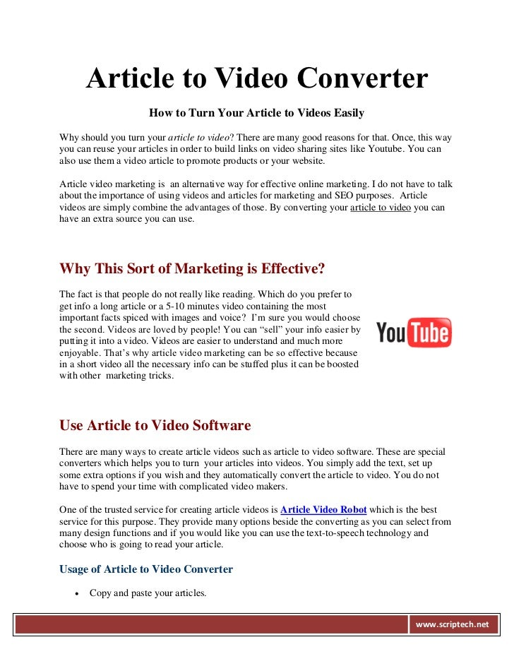 Article to Video Converter                      How to Turn Your Article to Videos EasilyWhy should you turn your article ...