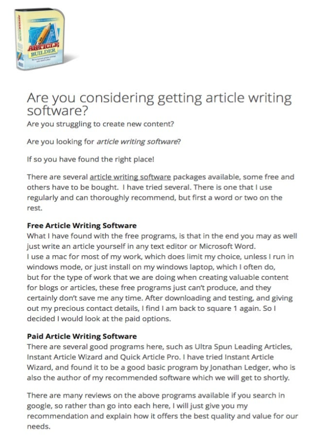 article writing software The most powerful writing tools for bloggers the software uses an advanced algorithm to detect not only grammatical mistakes in your content but offers tips.