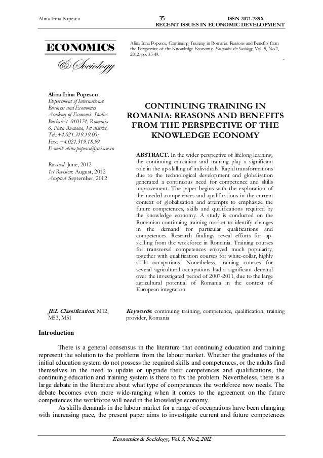 Alina Irina Popescu ISSN 2071-789X RECENT ISSUES IN ECONOMIC DEVELOPMENT Economics & Sociology, Vol. 5, No 2, 2012 35 ECON...