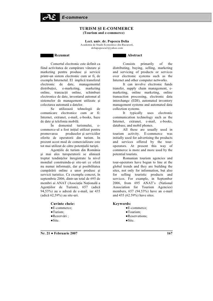 AE             E-commerce                               TURISM ŞI E-COMMERCE                                 (Tourism and ...