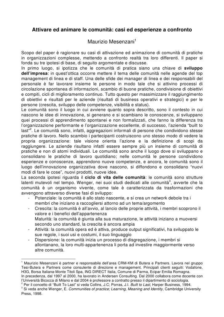 Attivare ed animare le comunità: casi ed esperienze a confronto                                         Maurizio Mesenzani...