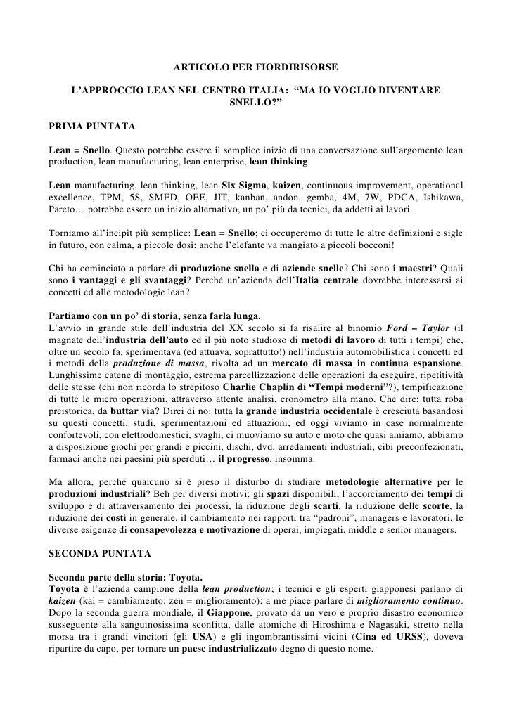 """ARTICOLO PER FIORDIRISORSE       L'APPROCCIO LEAN NEL CENTRO ITALIA: """"MA IO VOGLIO DIVENTARE                              ..."""