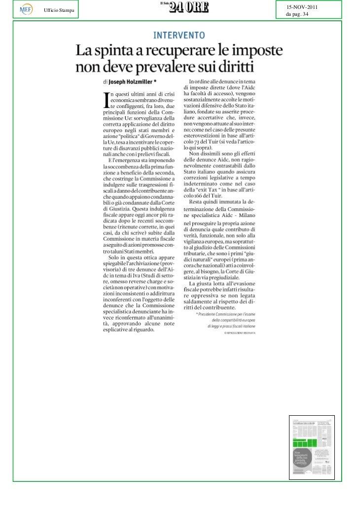 15-NOV-2011Ufficio Stampa                 da pag. 34