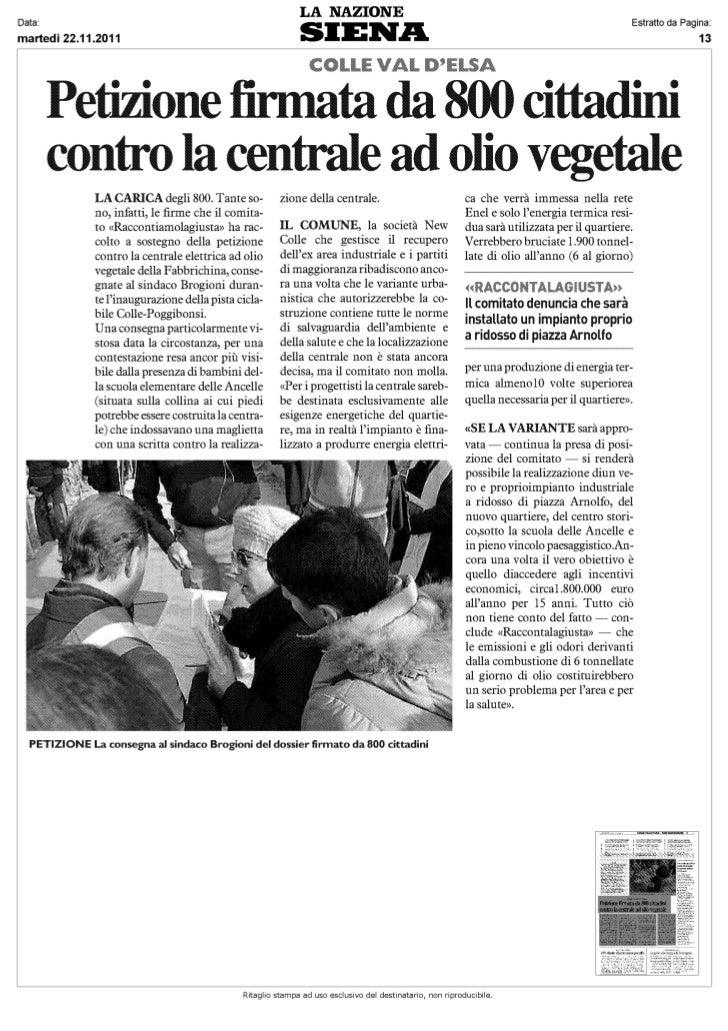 Articolo La Nazione 22 11 2011