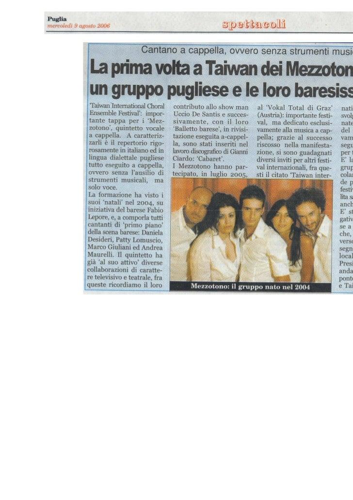 Mezzotono Puglia 9 Agosto 2006