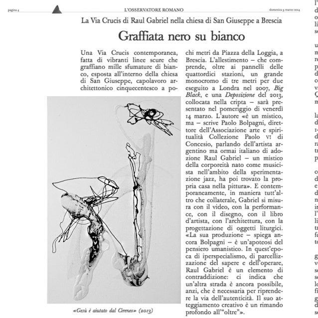 Raul Gabriel, il contemporaneo nel monumento del 500, Opere a San Giuseppe, Piazza della Loggia, articolo Osservatore Roma...