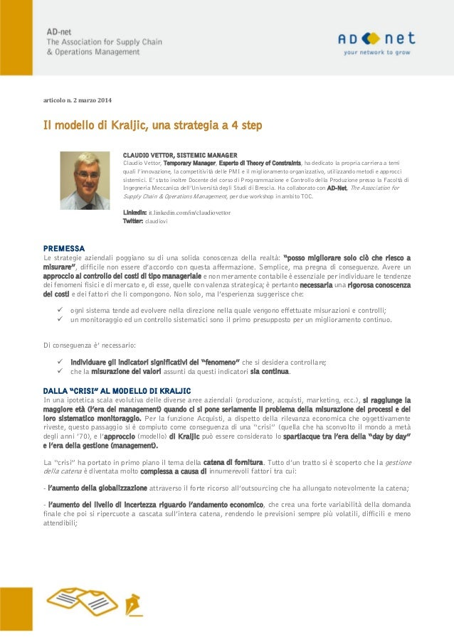 Il modello di kraljic una strategia a 4 step for Contratto di locazione 4 4 modello