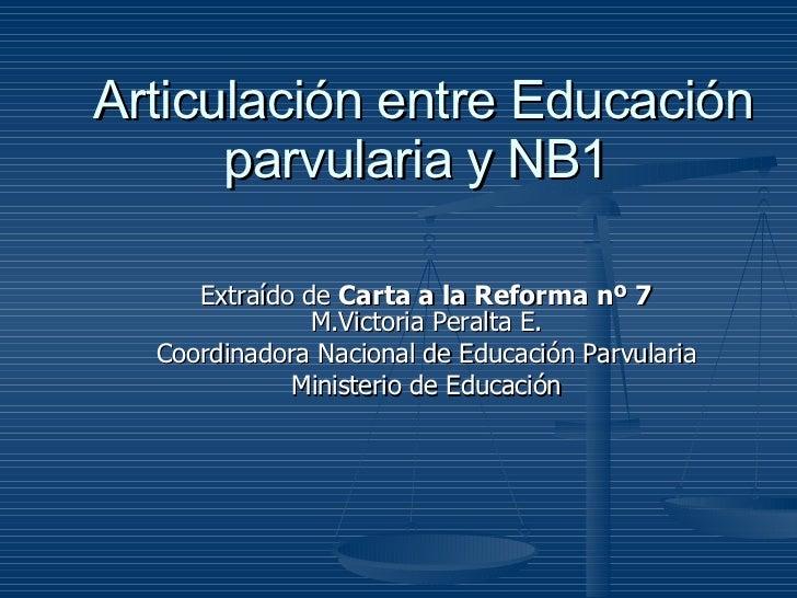 Articulación entre Educación parvularia y NB1   Extraído de  Carta a la Reforma nº 7  M.Victoria Peralta E. Coordinadora N...