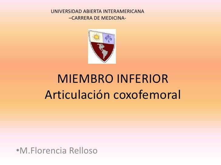 UNIVERSIDAD ABIERTA INTERAMERICANA <br />–CARRERA DE MEDICINA-<br />MIEMBRO INFERIORArticulación coxofemoral<br /><ul><li>...