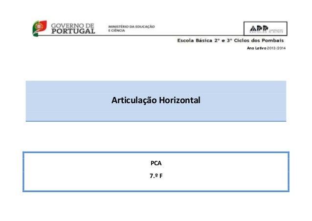 Ano Letivo 2013 /2014 Articulação Horizontal PCA 7.º F