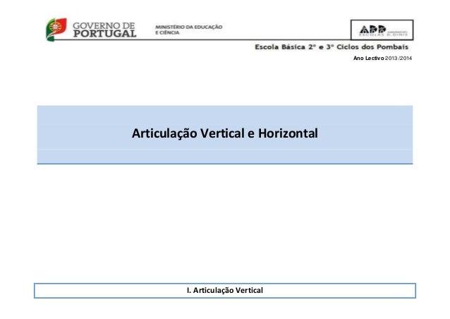 Ano Lectivo 2013 /2014 Articulação Vertical e Horizontal I. Articulação Vertical