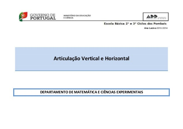 Ano Lecivo 2013 /2014 Articulação Vertical e Horizontal DEPARTAMENTO DE MATEMÁTICA E CIÊNCIAS EXPERIMENTAIS