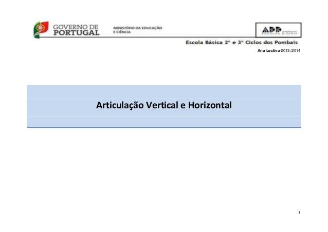 1 Ano Lectivo 2013 /2014 Articulação Vertical e Horizontal