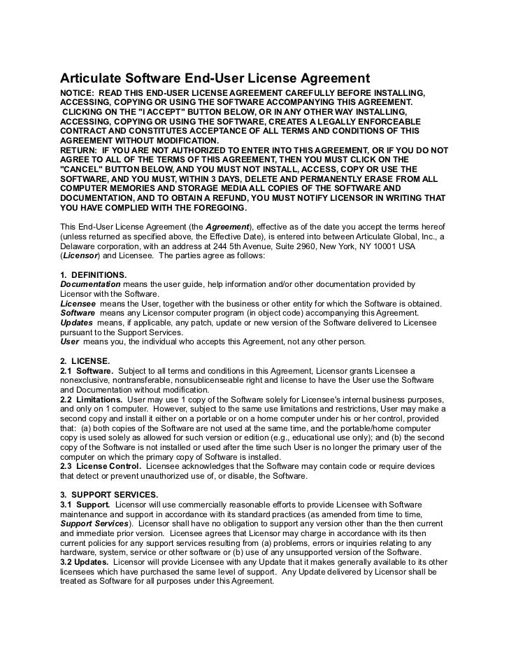 Articulate Software End-User License AgreementNOTICE: READ THIS END-USER LICENSE AGREEMENT CAREFULLY BEFORE INSTALLING,ACC...