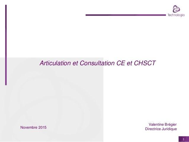 1 Articulation et Consultation CE et CHSCT Valentine Brégier Directrice JuridiqueNovembre 2015