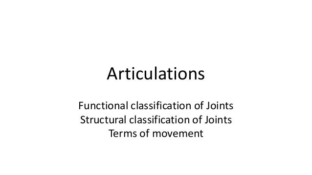 Articulations Functional classification of Joints Structural classification of Joints Terms of movement
