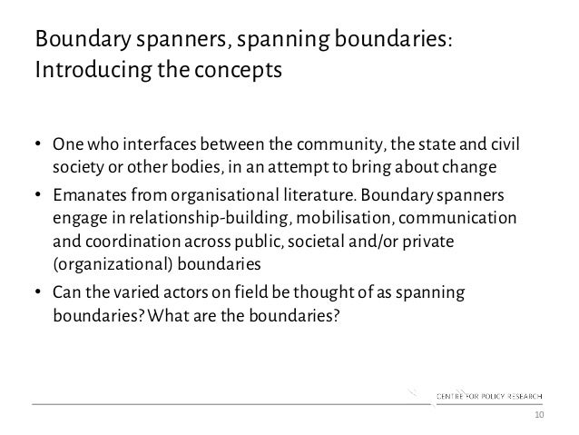 Boundary spanners, spanning boundaries: Introducing the concepts • One who interfaces between the community, the state and...