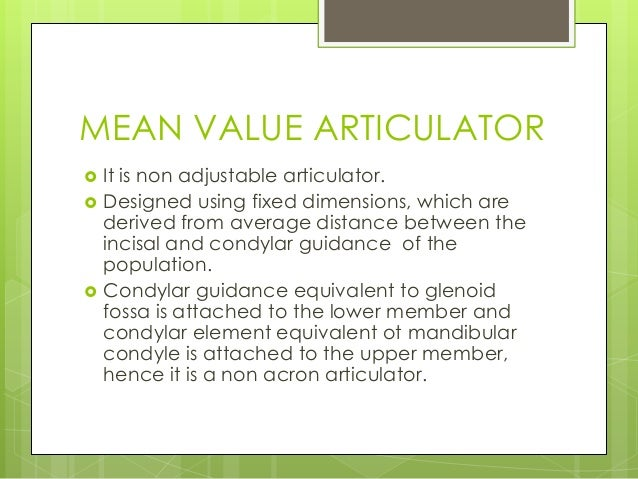 Articulator mean value articulator ccuart Images