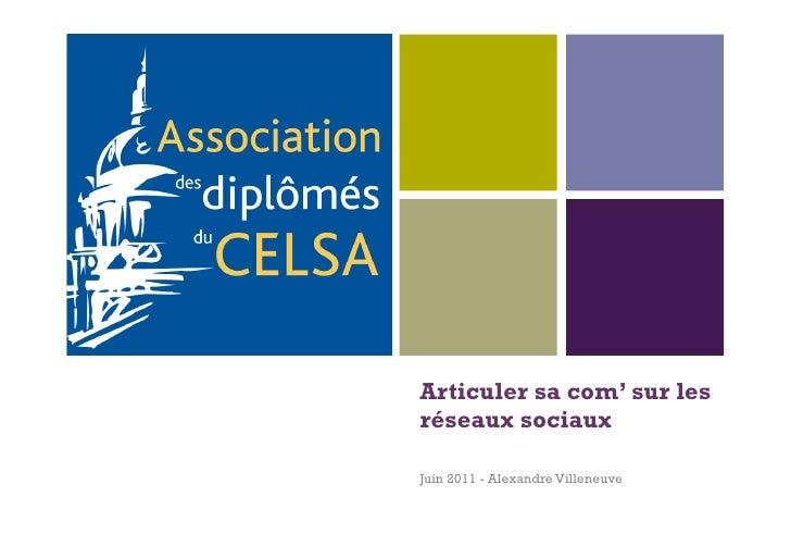 +    Articuler sa com' sur les    réseaux sociaux    Juin 2011 - Alexandre Villeneuve