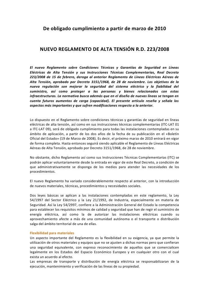 NUEVO REGLAMENTO DE ALTA TENSIÓN R.D. 223/2008