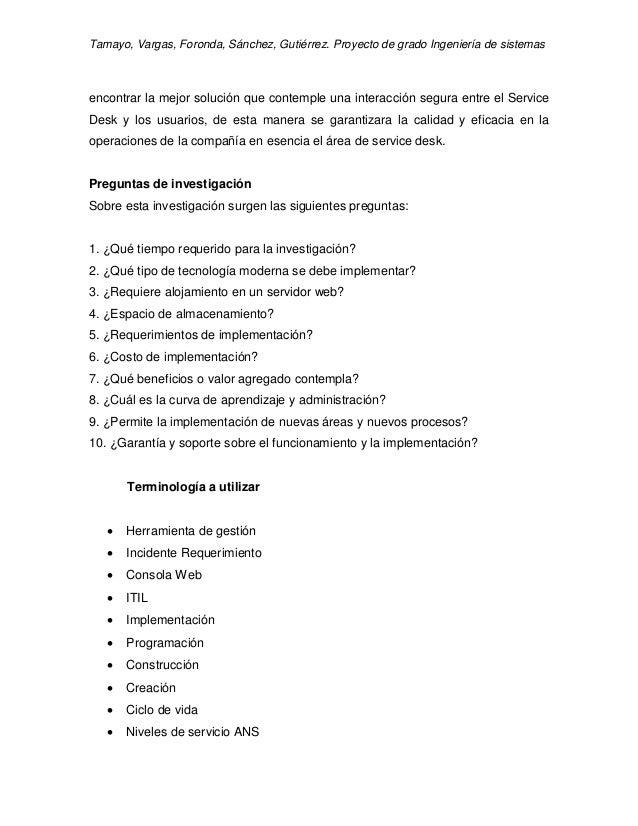 Tamayo, Vargas, Foronda, Sánchez, Gutiérrez. Proyecto de grado Ingeniería de sistemas encontrar la mejor solución que cont...