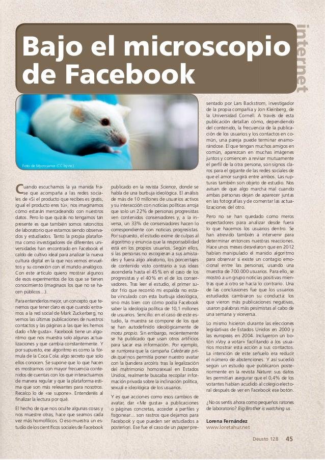 internet 45Deusto 128 Cuando escuchamos la ya manida fra- se que acompaña a las redes socia- les de «Si el producto que re...