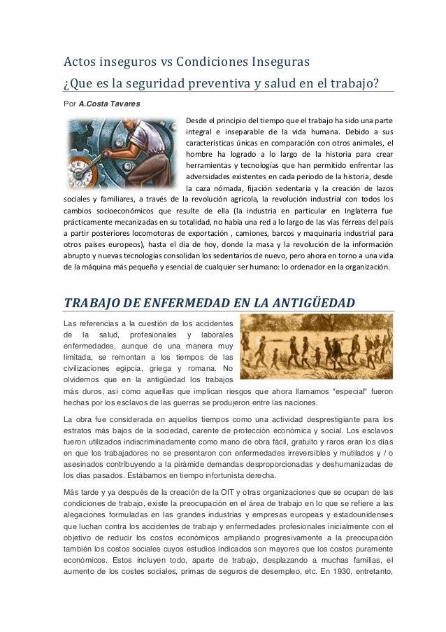 Actos  inseguros  vs  Condiciones  Inseguras   ¿Que  es  la  seguridad  preventiva  y  salud  en ...