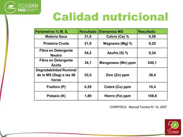 Calidad nutricional Parámetros % M. S. Resultado Elementos MS Resultado Materia Seca 31,6 Calcio (Ca) % 0,58 Proteína Crud...