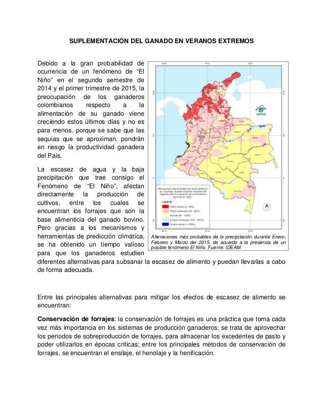 """SUPLEMENTACIÓN DEL GANADO EN VERANOS EXTREMOS Debido a la gran probabilidad de ocurrencia de un fenómeno de """"El Niño"""" en e..."""