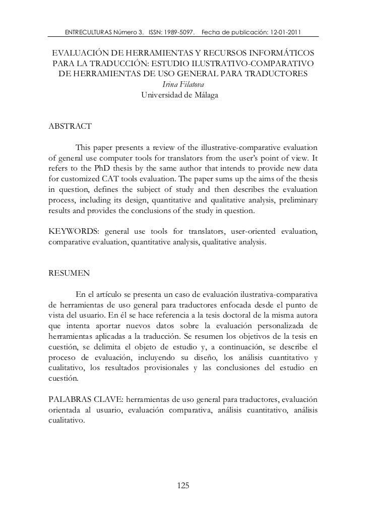 ENTRECULTURAS Número 3. ISSN: 1989-5097.   Fecha de publicación: 12-01-2011 EVALUACIÓN DE HERRAMIENTAS Y RECURSOS INFORMÁT...