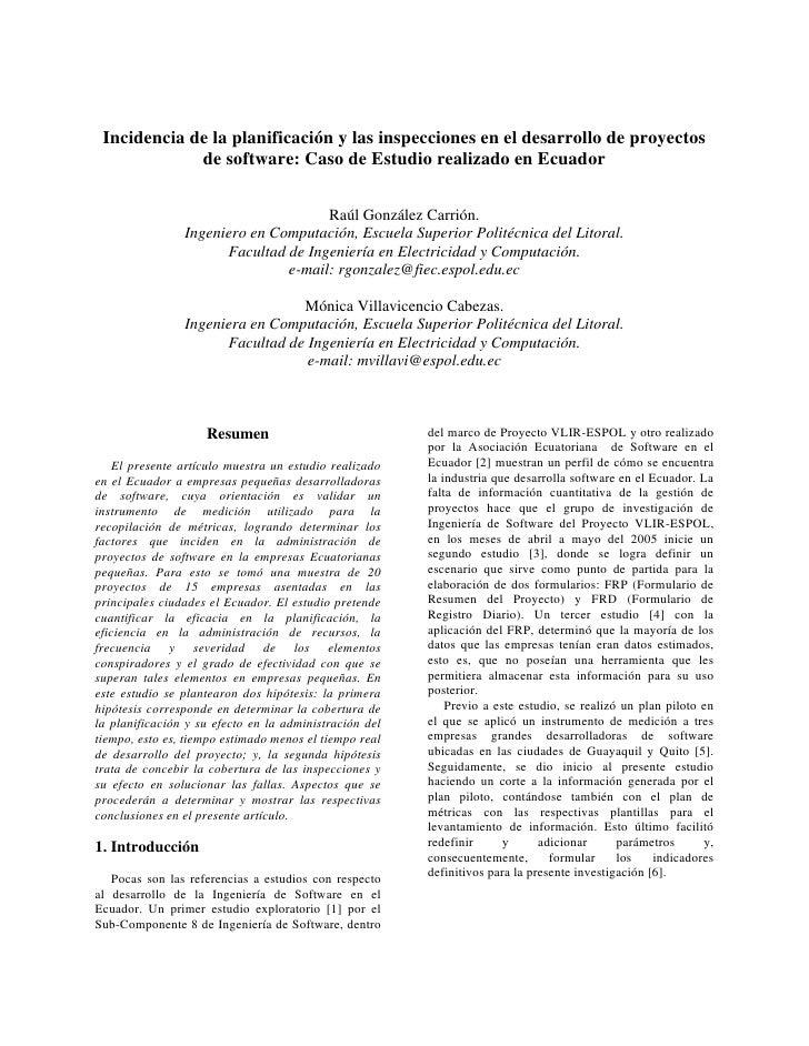 Incidencia de la planificación y las inspecciones en el desarrollo de proyectos              de software: Caso de Estudio ...