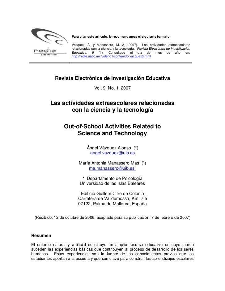 Para citar este artículo, le recomendamos el siguiente formato:                      Vázquez, Á. y Manassero, M. A. (2007)...