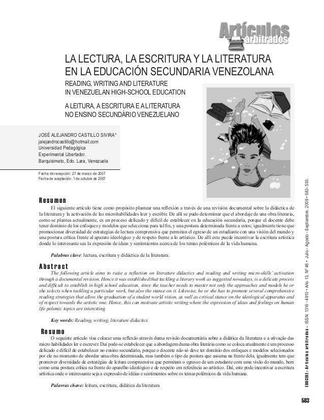 La lectura, la escritura y la literatura en la educación secundaria venezolana READING, WRITING AND LITERATURE IN VENEZUEL...