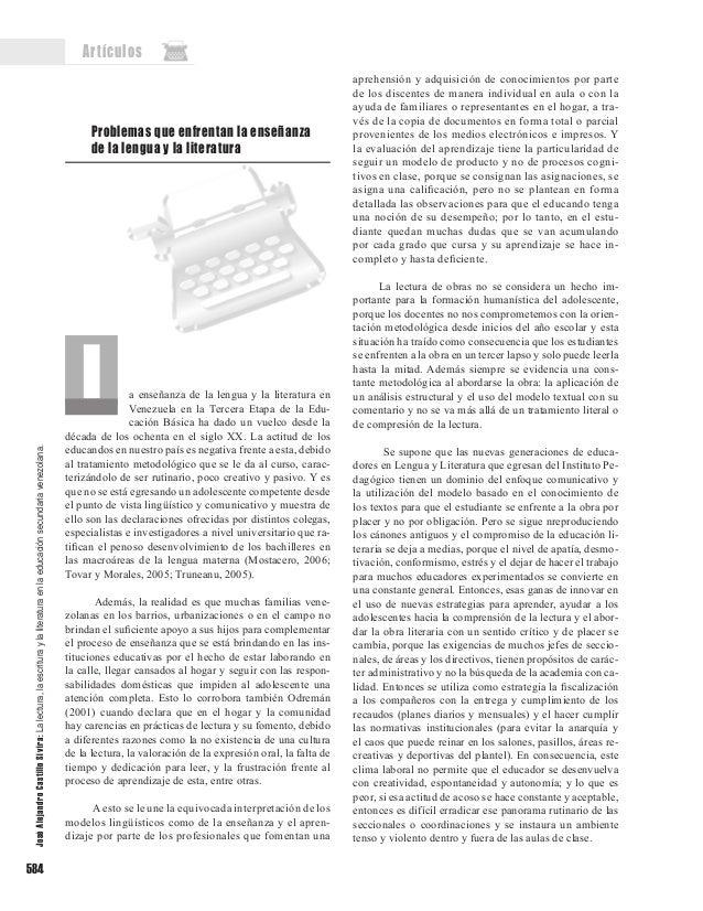LA LECTURA, LA ESCRITURA Y LA LITERATURA EN LA ENSEÑANZA VENEZOLANA Slide 2