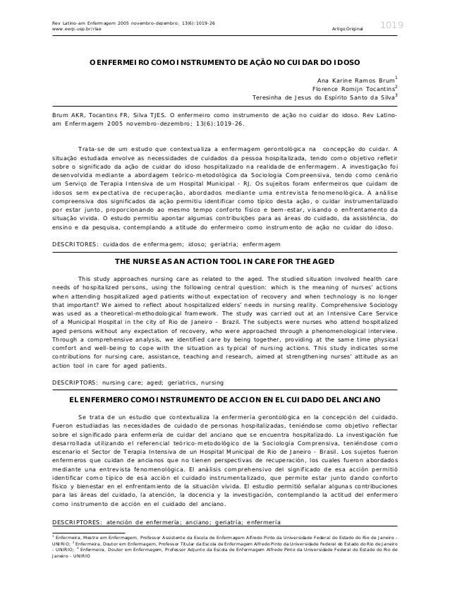 Rev Latino-am Enfermagem 2005 novembro-dezembro; 13(6):1019-26www.eerp.usp.br/rlae                                        ...