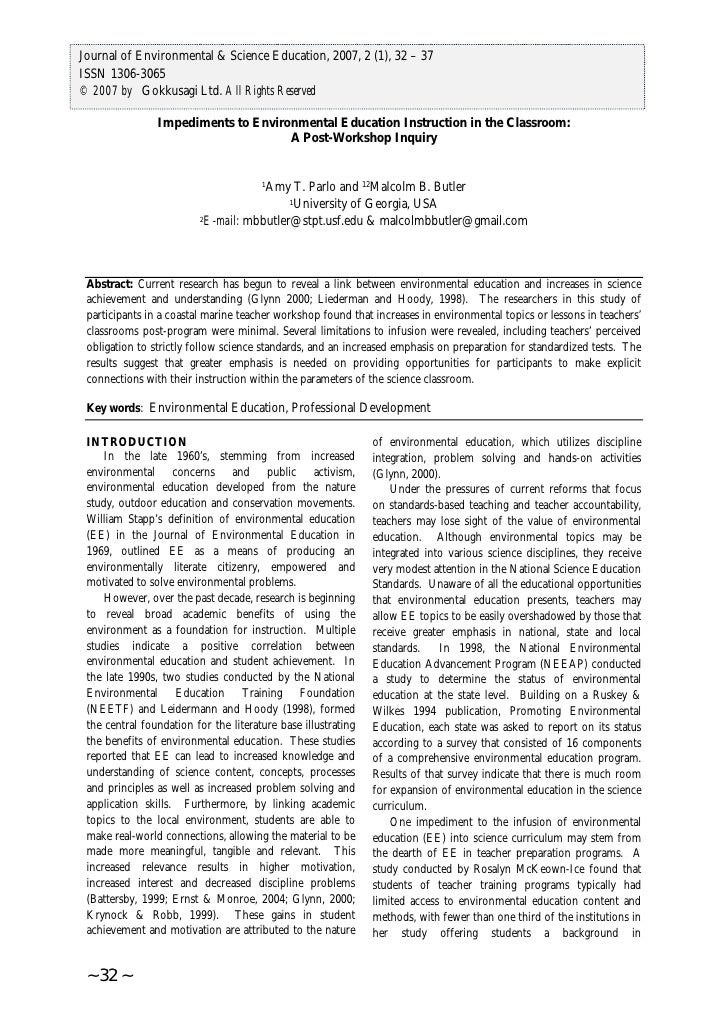 International Journal of Environmental & Science Education, 2007, 2 (1), 32 – 37Journal of Environmental & Science Educati...