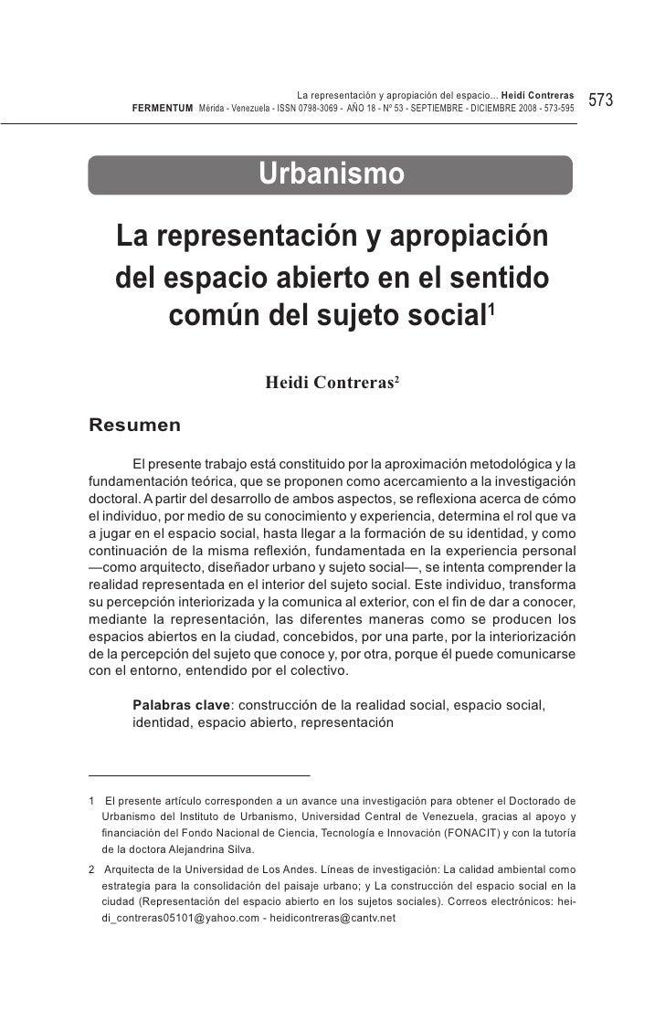 La representación y apropiación del espacio... Heidi Contreras        FeRMentUM Mérida - Venezuela - ISSN 0798-3069 - AÑO ...