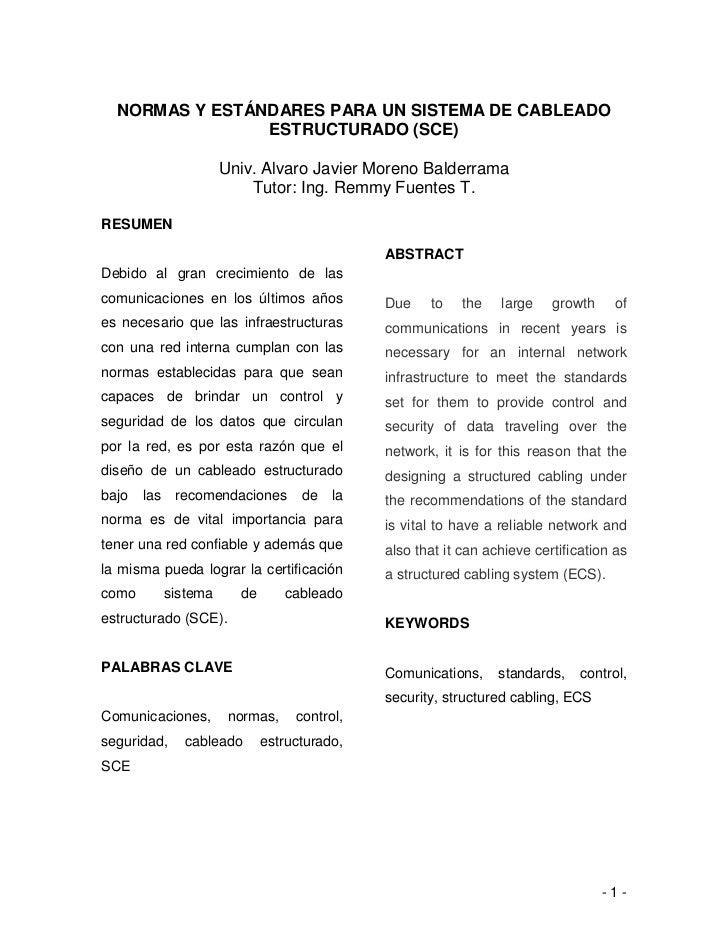 NORMAS Y ESTÁNDARES PARA UN SISTEMA DE CABLEADO                ESTRUCTURADO (SCE)                   Univ. Alvaro Javier Mo...
