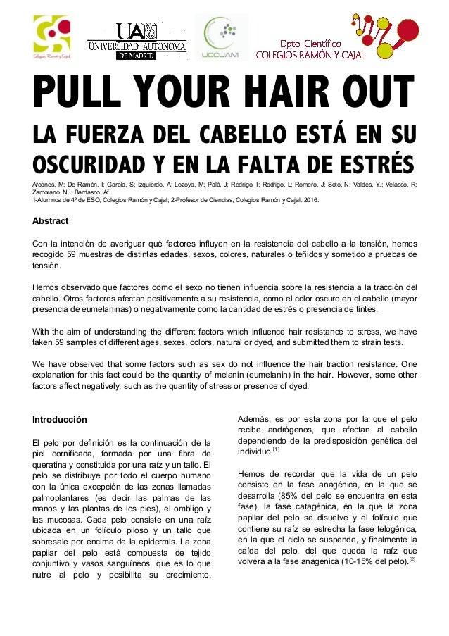 PULL YOUR HAIR OUT LA FUERZA DEL CABELLO ESTÁ EN SU OSCURIDAD Y EN LA FALTA DE ESTRÉSArcones, M; De Ramón, I; García, S; I...
