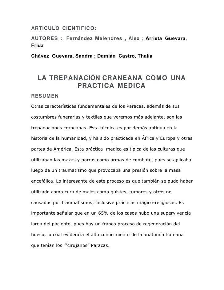 ARTICULO CIENTIFICO:  AUTORES : Fernández Melendres , Alex ; Arrieta Guevara, Frida  Chávez Guevara, Sandra ; Damián Castr...