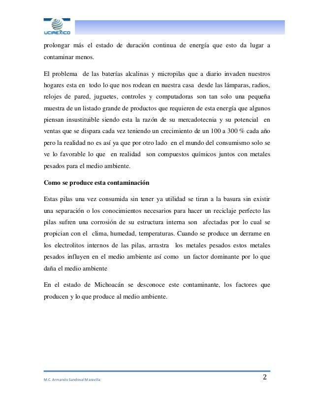 M.C. Armando Sandoval Maravilla 2 prolongar más el estado de duración continua de energía que esto da lugar a contaminar m...