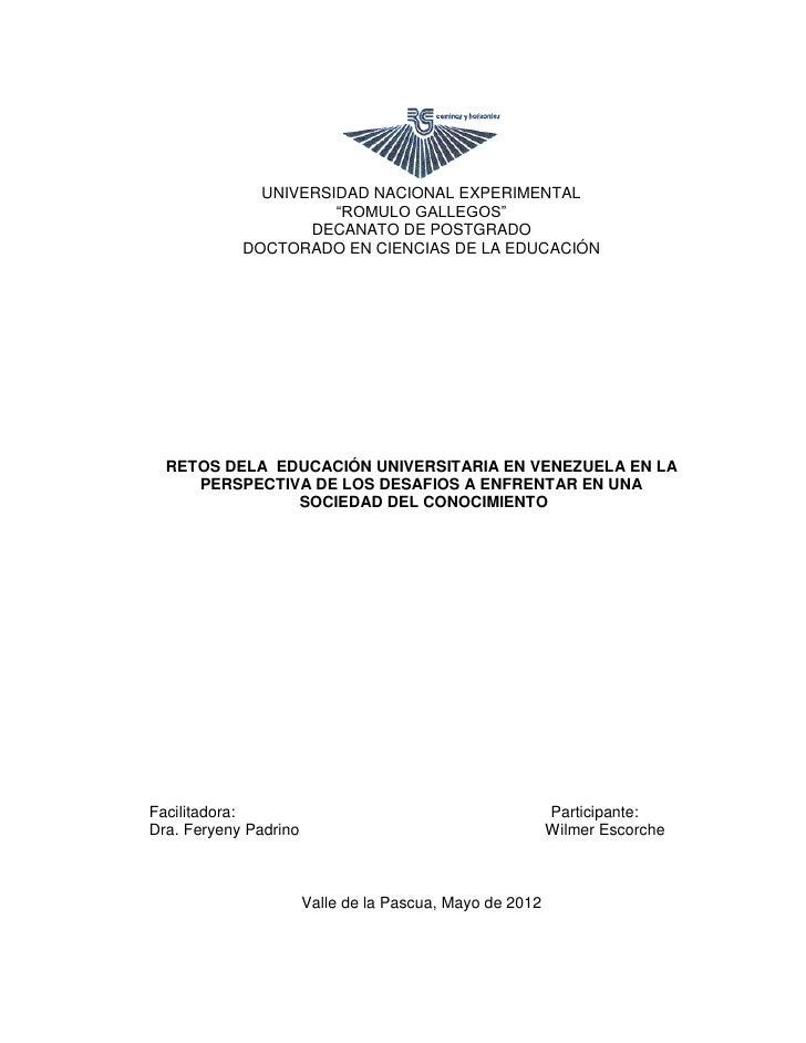 """UNIVERSIDAD NACIONAL EXPERIMENTAL                      """"ROMULO GALLEGOS""""                   DECANATO DE POSTGRADO          ..."""