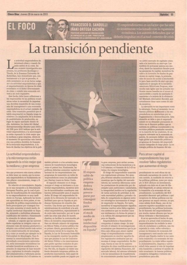 La Transición Pendiente_Cinco Días_28 de marzo de 2013